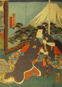 Toyokuni III (d.i. Kunisada, 1786-1864).  Murasaki Daijin jitsuwa Jiraiya (Minister Murasaki alias Jiraiya) mit seinem Schwert vor einem Stellschirm mit dem Berg Fuji.  Signatur: Toyokuni ga. Verlegermarke: Ebisuya Shôshichi.  Zensoren- und Datumssiegel: Kinugasa & Murata Ratte 8 (1852).  Orig. japanischer Farbholzschnitt aus einer Mehrblattfolge € 180.-