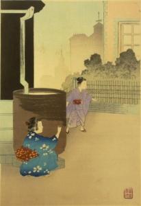 Miyagawa Shuntei (1873-1914)Kakurenbo (Versteckspiel)Serie: Kodomo Fuzoku (Kindergebräuche)Siegel:Miyagawa ShunteiVerleger: Akiyama BuemonMeiji 30.Jahr (1897)30 x 20,4 cm.Original japanischer Farbholzschnitt mit alter Albumdoublierung           € 180.-